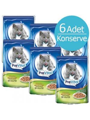 Prevital Sterile Parça Etli Ciğerli Soslu Kisirlaştirilmiş Kedi Konservesi 100 Gr (6 Adet)